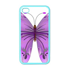 Purple Awareness Butterfly Apple Iphone 4 Case (color) by FunWithFibro