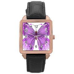 Purple Awareness Butterfly Rose Gold Leather Watch  by FunWithFibro