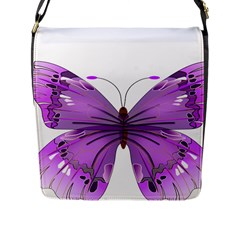 Purple Awareness Butterfly Flap Closure Messenger Bag (large) by FunWithFibro
