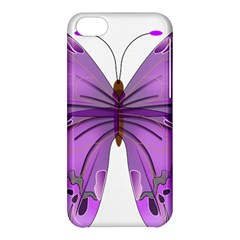 Purple Awareness Butterfly Apple Iphone 5c Hardshell Case by FunWithFibro