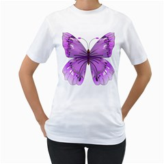 Purple Awareness Butterfly Women s T Shirt (white)