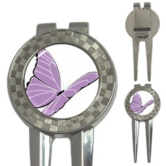 Purple Awareness Butterfly 2 Golf Pitchfork & Ball Marker by FunWithFibro