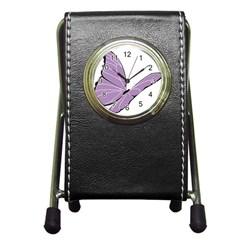 Purple Awareness Butterfly 2 Stationery Holder Clock