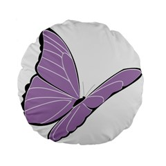 Purple Awareness Butterfly 2 15  Premium Round Cushion  by FunWithFibro