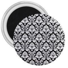 White On Black Damask 3  Button Magnet by Zandiepants