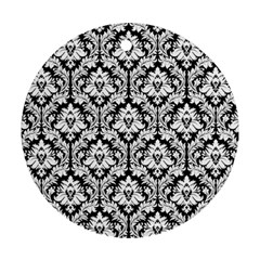 White On Black Damask Round Ornament by Zandiepants
