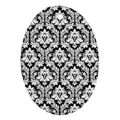 White On Black Damask Oval Ornament by Zandiepants