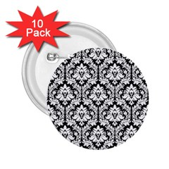 White On Black Damask 2 25  Button (10 Pack) by Zandiepants