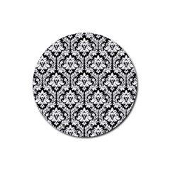 White On Black Damask Drink Coasters 4 Pack (round) by Zandiepants
