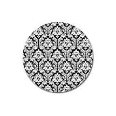White On Black Damask Magnet 3  (round) by Zandiepants