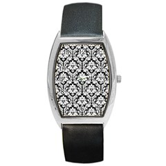 White On Black Damask Tonneau Leather Watch by Zandiepants