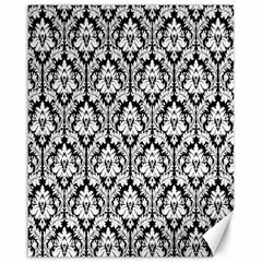 White On Black Damask Canvas 16  X 20  (unframed) by Zandiepants
