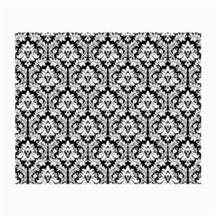 White On Black Damask Glasses Cloth (small, Two Sided) by Zandiepants