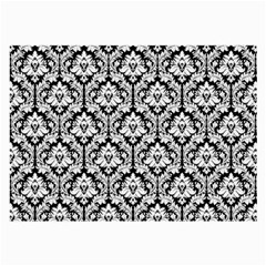 White On Black Damask Glasses Cloth (large) by Zandiepants