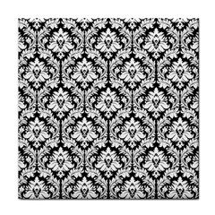 Black & White Damask Pattern Face Towel by Zandiepants