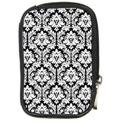 White On Black Damask Compact Camera Leather Case by Zandiepants
