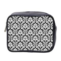 Black & White Damask Pattern Mini Toiletries Bag (two Sides)