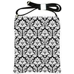Black & White Damask Pattern Shoulder Sling Bag by Zandiepants