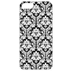 White On Black Damask Apple iPhone 5 Classic Hardshell Case by Zandiepants