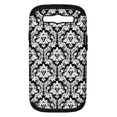 White On Black Damask Samsung Galaxy S III Hardshell Case (PC+Silicone) by Zandiepants