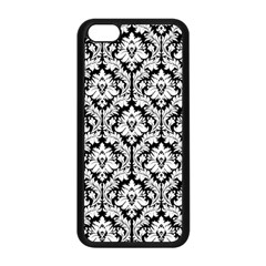 White On Black Damask Apple Iphone 5c Seamless Case (black) by Zandiepants