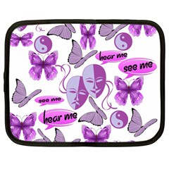 Invisible Illness Collage Netbook Sleeve (xl) by FunWithFibro