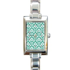 White On Emerald Green Damask Rectangular Italian Charm Watch by Zandiepants