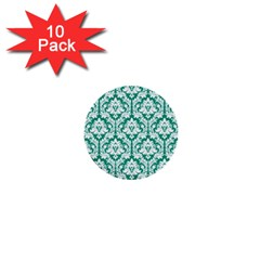 White On Emerald Green Damask 1  Mini Button (10 Pack) by Zandiepants
