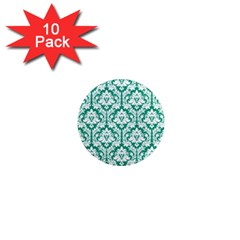 White On Emerald Green Damask 1  Mini Button Magnet (10 Pack) by Zandiepants