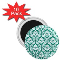 White On Emerald Green Damask 1 75  Button Magnet (10 Pack) by Zandiepants