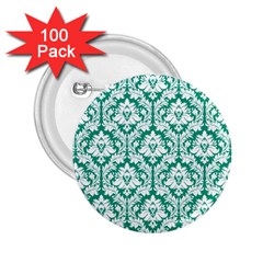 White On Emerald Green Damask 2 25  Button (100 Pack) by Zandiepants