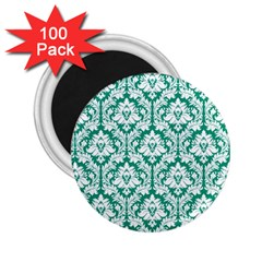 White On Emerald Green Damask 2 25  Button Magnet (100 Pack) by Zandiepants