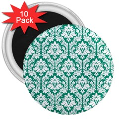 White On Emerald Green Damask 3  Button Magnet (10 Pack) by Zandiepants