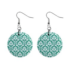 Emerald Green Damask Pattern 1  Button Earrings