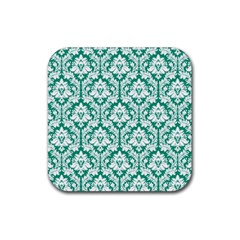 White On Emerald Green Damask Drink Coasters 4 Pack (square) by Zandiepants