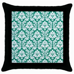 White On Emerald Green Damask Black Throw Pillow Case by Zandiepants