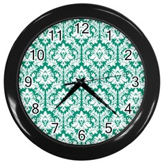 White On Emerald Green Damask Wall Clock (black) by Zandiepants
