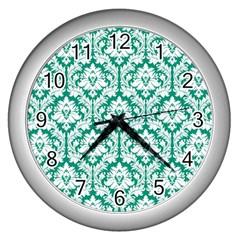 White On Emerald Green Damask Wall Clock (silver) by Zandiepants