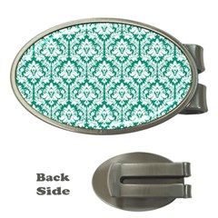 White On Emerald Green Damask Money Clip (oval) by Zandiepants