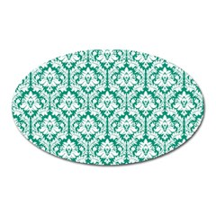 White On Emerald Green Damask Magnet (oval) by Zandiepants