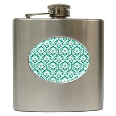 White On Emerald Green Damask Hip Flask by Zandiepants