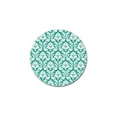 White On Emerald Green Damask Golf Ball Marker by Zandiepants