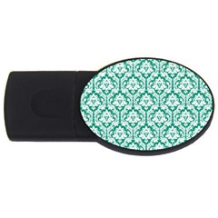 White On Emerald Green Damask 1GB USB Flash Drive (Oval)
