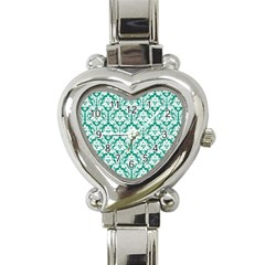 White On Emerald Green Damask Heart Italian Charm Watch  by Zandiepants