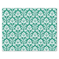 White On Emerald Green Damask Jigsaw Puzzle (rectangle) by Zandiepants