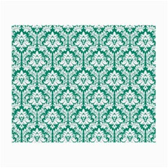 White On Emerald Green Damask Glasses Cloth (small) by Zandiepants