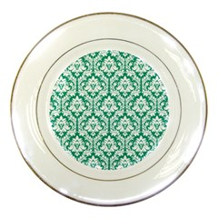 White On Emerald Green Damask Porcelain Display Plate by Zandiepants