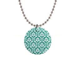 Emerald Green Damask Pattern 1  Button Necklace by Zandiepants