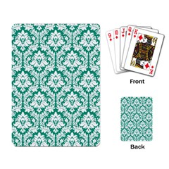 White On Emerald Green Damask Playing Cards Single Design by Zandiepants