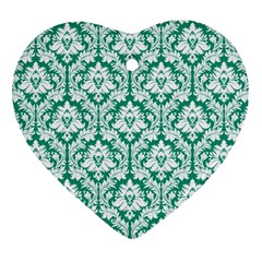 White On Emerald Green Damask Heart Ornament (two Sides) by Zandiepants